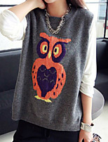 Women's Character Gray Vest , Casual Long Sleeve