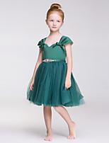 A-Lijn Knie-Lengte Bloemenmeisje jurk - Tule/Polyester Mouwloos