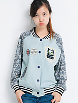 Women's Character/Patchwork Blue/Red Jackets , Casual/Cute Stand Long Sleeve Pocket/Button