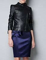 Women Faux Fur/PU Outerwear/Tops Trench Coat Coat (Belt Included)
