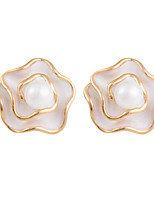 Elegant Blooming Rose with Shell Pearl Central Stud Earrings - 2 Colors Available