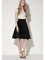 Women's Casual Micro-elastic Thin Knee-length Skirts (Nylon/Cotton Blends)