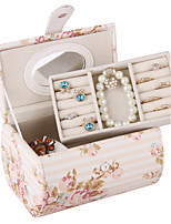 Modern Leatherette Jewelry Box Two Layers of Printed Pastoral Wind Jewelry Boxes