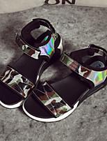 Women's Shoes Platform Open Toe Sandals Casual Green/Silver
