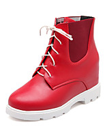 Women's Shoes Wedge Heel Motorcycle Boots/Round Toe Boots Dress Black/Red/White
