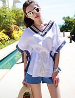 Women's Sexy Casual Cute Plus Sizes Micro Elastic Short Sleeve Regular T-shirt (Cotton/Linen)
