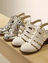 Chaussures Femme - Décontracté - Blanc / Argent - Gros Talon - Gladiateur - Sandales - Similicuir