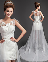 Sheath/Column Asymmetrical Wedding Dress - Scoop Lace
