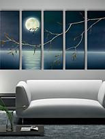 e-Home® sträckt KANFASKONST den månbelysta natten landskapet dekorationsmåleri uppsättning av 5