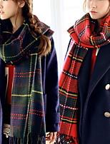 Women Retro Super Wool Plaid Scarves Shawls