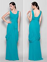 Floor-length Chiffon Bridesmaid Dress - Jade Sheath/Column Straps