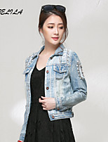 Women's Casual Slim Solid color Long Sleeve Short Jeans Coat