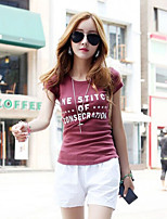 Women's Casual Micro-elastic Short Sleeve Regular T-shirt (Cotton Blends)