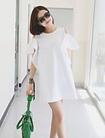 Women's Casual Micro-elastic Short Sleeve Long T-shirt (Cotton)