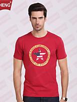 Camiseta De los hombres Casual/Deporte Estampado - Algodón - Manga Corta