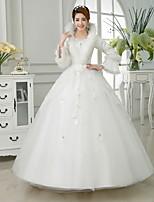 podłogi suknia balowa suknia ślubna -v długość szyi satyna-