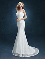 Vestido de Boda - Blanco Corte Sirena Barrida - Escote en U Encaje