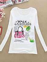 De las mujeres Camiseta Escote Redondo - Algodón - Manga Larga