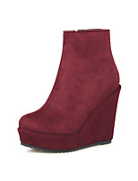 Women's Shoes Wedge Heel Fashion Boots/Round Toe Boots Dress Black/Brown/Red