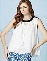 Women's Sexy Casual Cute Plus Sizes Inelastic Sleeveless Regular Blouse (Chiffon)