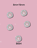 B694 8mm*8mm 10pcs/lot Beauty Nail 2pcs 3D Silver Alloy Rhinestones with Pink Pearl Nail Alloy Art Decoration Nail Tips