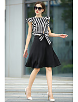 Women's Print/Striped/Patchwork/Color Block Red/Black T-shirt , Round Neck Short Sleeve Flower/Ruffle