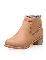 Women's Shoes Chunky Heel Fashion Boots/Round Toe Boots Dress/Casual Yellow/Gray/Beige