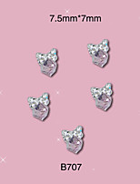 10pcs Nail Sticker Bow Shape with Square Rhinestones Alloy Metal Nail Art Decoration Perfect Design 7.5mm*7mm