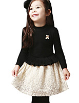 Girl's Winter Thicken Bear Flounced Stitching color Princess Party Long Sleeve Dress (Cotton Blend)