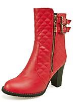 Zapatos de mujer - Tacón Robusto - Punta Redonda / Botas a la Moda - Botas - Vestido - Semicuero - Negro / Rojo / Blanco