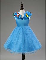 A-line Knee-length Flower Girl Dress - Satin/Tulle Sleeveless