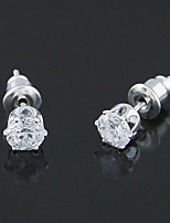 Women's European Style Concise Fashion Zircon Alloy Stud Earrings