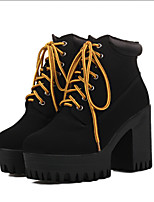 Women's Shoes Fleece Chunky Heel Combat Boots/Round Toe Boots Casual Black/Brown