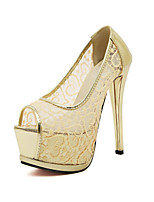Women's Shoes Synthetic Stiletto Heel Platform Pumps/Heels Casual Black/White/Gold