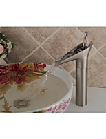 Contemporary Style Nickel Brushed Finish Waterfall Bathroom Sink Faucet