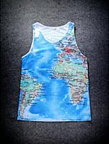 European Style Double Net Hole Vest Digital Printing 3D Sleeveless Map Harajuku Vest