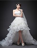 Vestido de Boda - Blanco Corte en A Asimétrica - Un Hombro Organza
