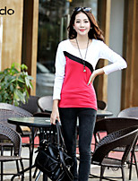 Women's Patchwork/Color Block Red/White/Black/Brown/Green/Purple T-shirt Long Sleeve