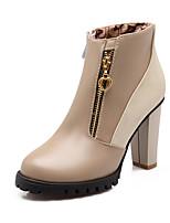 Zapatos de mujer - Tacón Robusto - Punta Redonda / Botas a la Moda - Botas - Vestido - Semicuero - Negro / Beige
