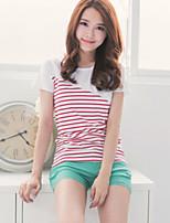 Women's Sexy Casual Lace Cute Plus Sizes Inelastic ½ Length Sleeve Regular Blouse (Chiffon)