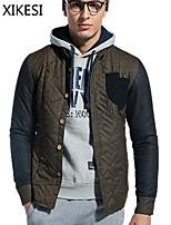 Men's Casual Pure Long Sleeve Regular Jacket (Cotton Blend) XKS7F11