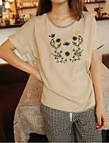 Women's Casual/Cute Micro-elastic Short Sleeve Regular T-shirt (Cotton/Linen)