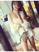 Women's Lace White Blouse , V Neck ¾ Sleeve