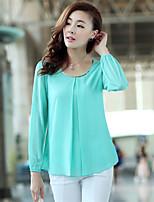 Women's Casual Inelastic Long Sleeve Regular Blouse (Chiffon)