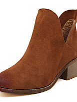 Women's Shoes Synthetic Chunky Heel Round Toe Boots Casual Black/Brown