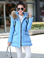 Women's Solid Blue/Red/Black/Gray Parka Coat , Casual Hooded Long Sleeve