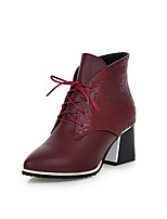 Women's Shoes Chunky Heel Fashion Boots/Comfort Boots Outdoor/Office & Career/Dress/Casual Black/Blue/Red