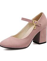 Women's Shoes Fleece Chunky Heel Heels/Square Toe Pumps/Heels Dress Green/Pink/Gray