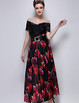 Women's Print Red/Black Skirts , Casual Maxi