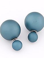 Women's European Style Concise Fashion Double Side Ball Stud Earrings
